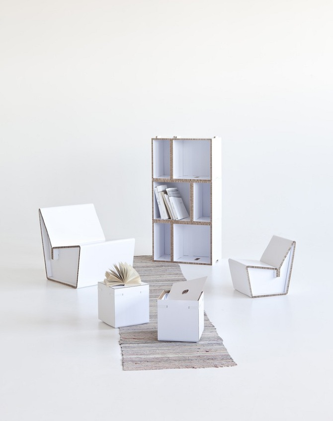 Jrvi%20 %20Ruoho KENNO%20Chairs KASAA%20shelf TAITA%20container Cardboard furniture by Järvi & Ruoho on thisispaper.com